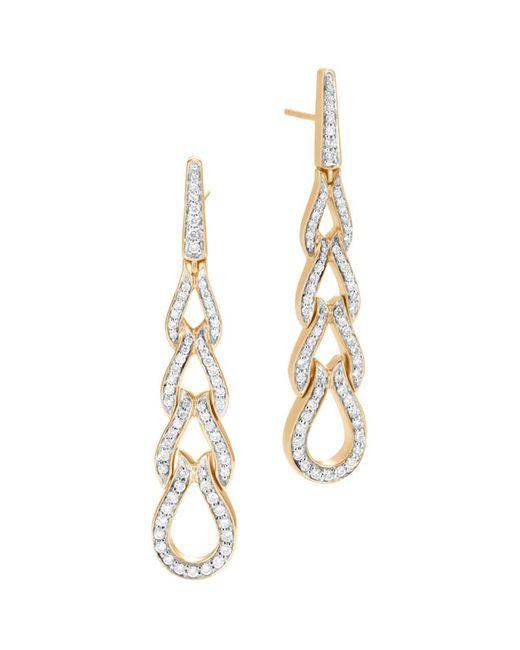 John Hardy - Metallic 18k Yellow Gold Classic Chain Pavé Diamond Long Drop Earrings - Lyst