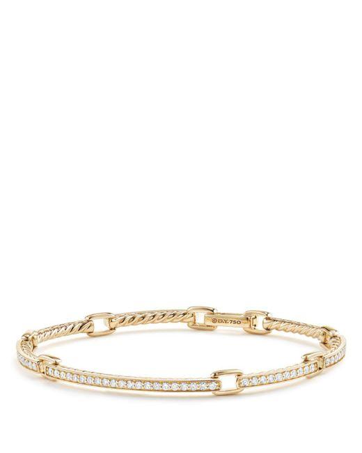 David Yurman Metallic Petite Pave Diamond Link Bracelet In 18k Yellow Gold, Size Large