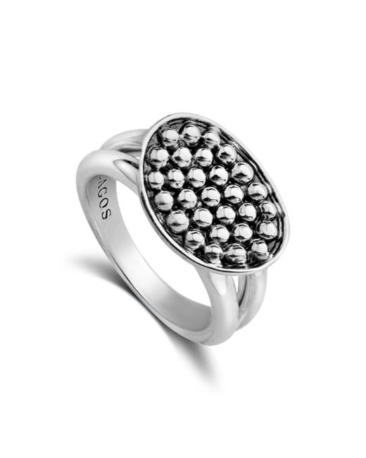 Lagos - Metallic Signature Caviar Horizontal Ellipse Ring - Lyst