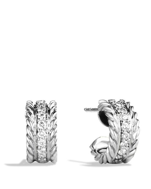 David Yurman - Metallic Cable Classics Extra Small Earrings With Diamonds - Lyst