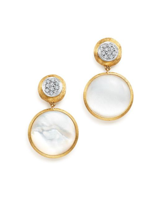 Marco Bicego - Metallic 18k Yellow Gold Jaipur Mother-of-pearl And Diamond Drop Earrings - Lyst