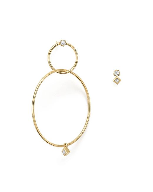 Zoe Chicco | Metallic 14k Yellow Gold Mixed Diamond Stud And Hoop Earrings | Lyst