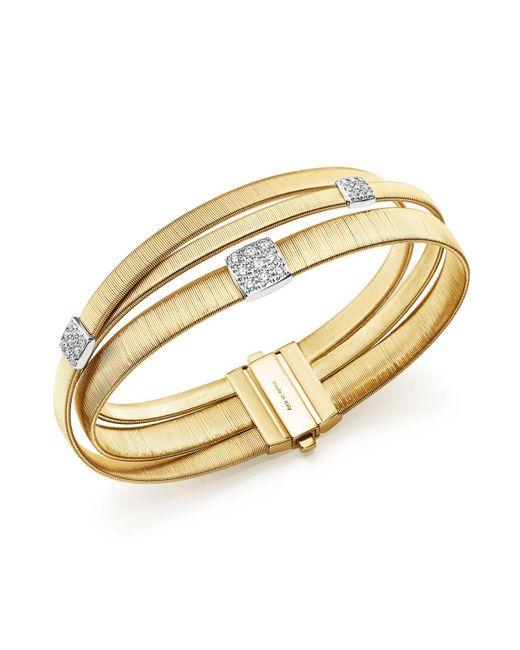 Marco Bicego | Metallic 18k Yellow Gold Masai Three Strand Crossover Diamond Bracelet | Lyst