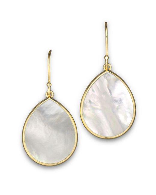 Ippolita Metallic 18k Gold Polished Rock Candy Teardrop Earrings In Mother - Of - Pearl