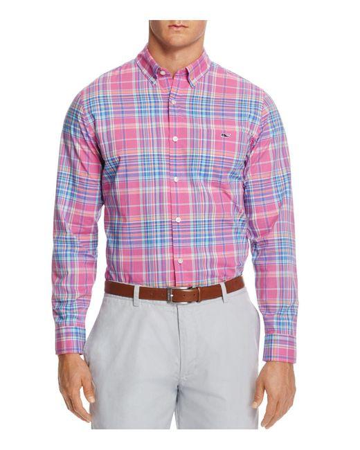 Vineyard Vines | Pink Coral Cliff Plaid Tucker Slim Fit Button-down Shirt for Men | Lyst