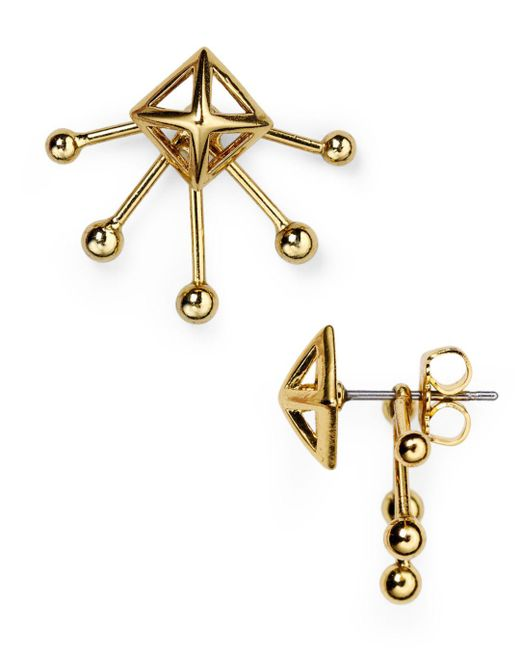 Rebecca Minkoff - Metallic Pyramid Fan Stud And Jacket Earrings - Lyst