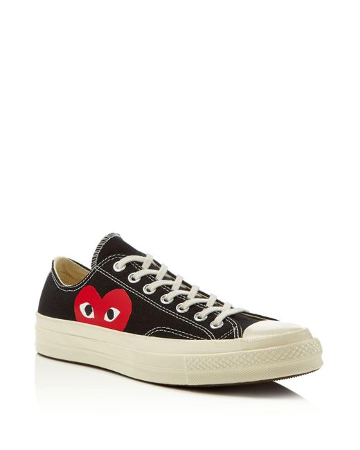 Play Comme des Garçons - Red Large Emblem Low Top Canvas Sneakers - Lyst