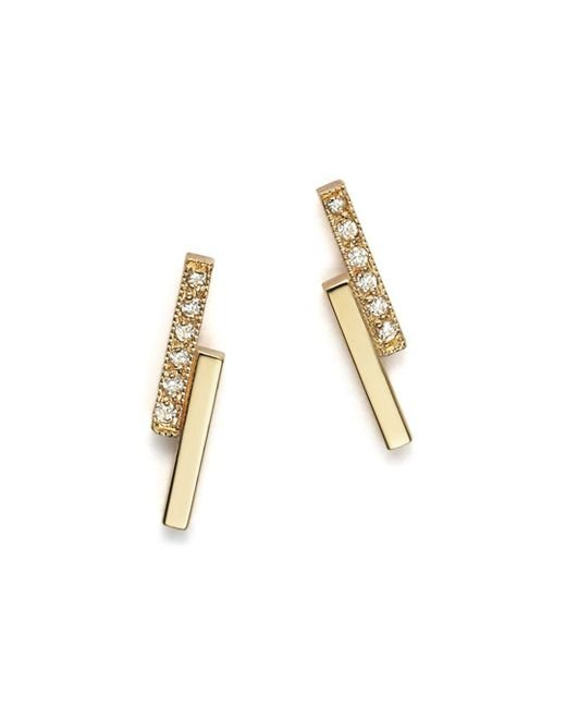 Zoe Chicco - Metallic 14k Small Staggered Bar Stud Earrings With Diamonds - Lyst