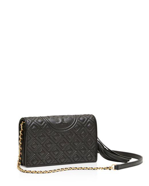 Tory Burch - Black Fleming Leather Wallet Crossbody - Lyst