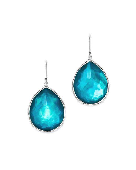Ippolita - Blue Sterling Silver Wonderland Mother-of-pearl & Clear Quartz Doublet Teardrop Earrings In Tide - Lyst