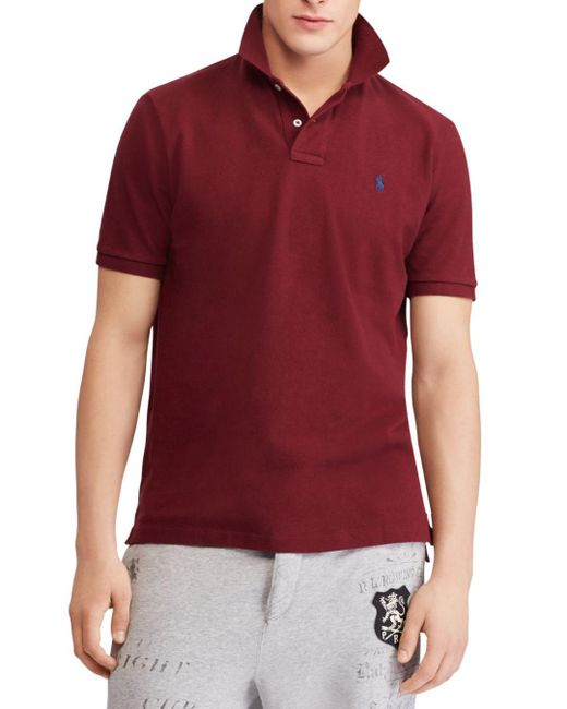 Polo Ralph Lauren - Red Polo Mesh Custom Slim Fit Polo Shirt for Men - Lyst