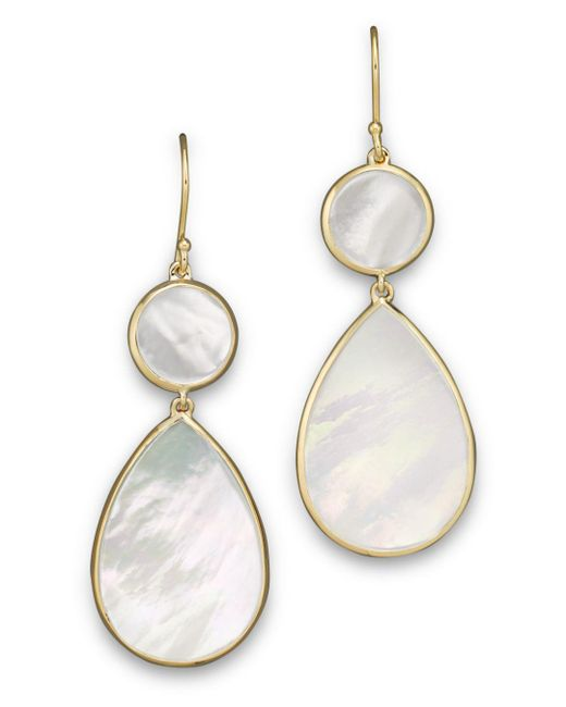Ippolita - White 18k Gold Polished Rock Candy 2 Drop Earrings In Mother-of-pearl - Lyst