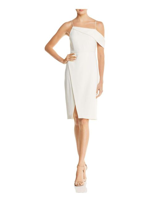 Laundry by Shelli Segal - White Asymmetric Cocktail Dress - Lyst