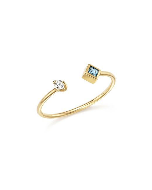 Zoe Chicco | Metallic 14k Yellow Gold Stacking Ring With Diamond And Aquamarine | Lyst