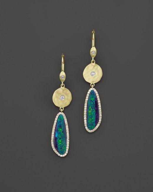 Meira T - Green 14k Yellow Gold Opal Elongated Earrings - Lyst