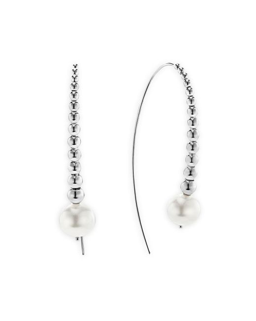 Lagos | Metallic Sterling Silver Signature Caviar Cultured Freshwater Pearl Linear Drop Earrings | Lyst