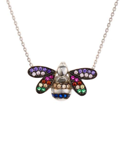 Aqua Metallic Multicolor Bee Pendant Necklace In Sterling Silver