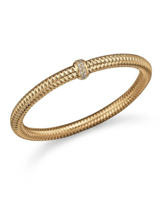 Roberto Coin Metallic 18k Yellow Gold Primavera Stretch Bracelet With Diamonds