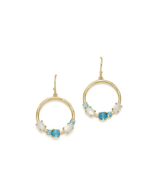 Ippolita | Metallic 18k Yellow Gold Rock Candy® Blue Topaz & Mother-of-pearl Doublet Circle Drop Earrings In Raindrop | Lyst
