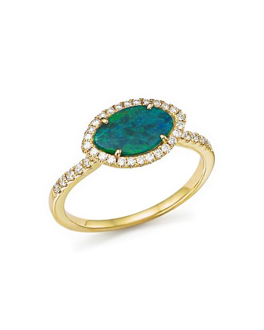 Meira T | Metallic 14k Yellow Gold Opal Marquise Ring With Diamonds | Lyst