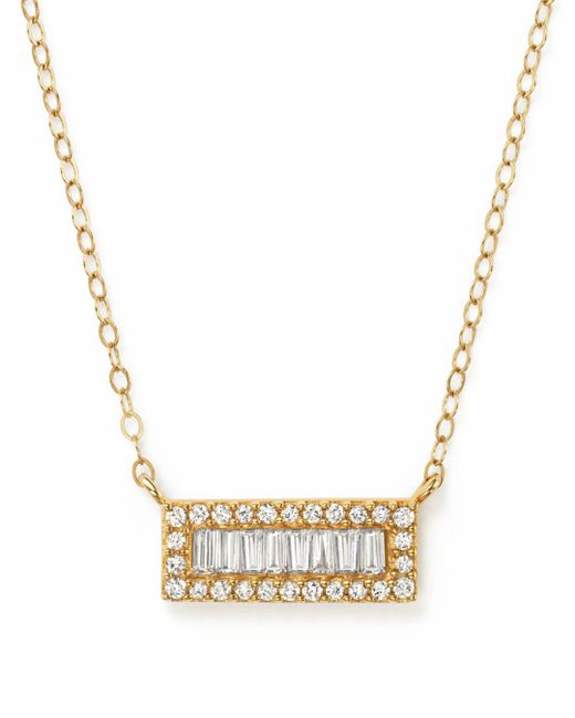 Bloomingdale's - Metallic Diamond Round And Baguette Bar Necklace In 14k Yellow Gold, .20 Ct. T.w. - Lyst