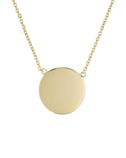Aqua Metallic Disc Pendant Necklace In 18k Gold - Plated Sterling Silver