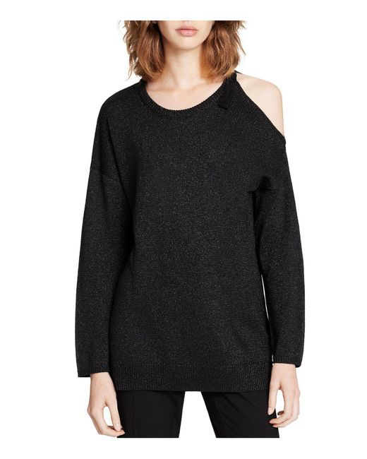 Calvin Klein | Black Metallic Cold-shoulder Sweater | Lyst