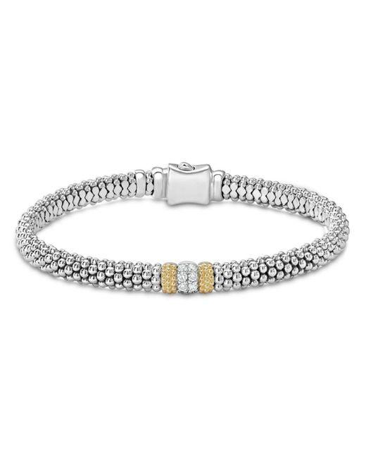 Lagos Metallic 18k Gold & Sterling Silver Diamond Lux Single Station Bracelet