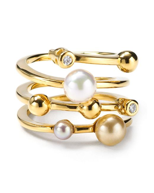 Majorica | Metallic Endless Simulated Pearl Ring | Lyst