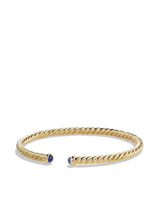 David Yurman - Metallic Precious Cable Pavé Cablespira Bracelet With Blue Sapphires In Gold - Lyst