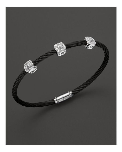 "Charriol | Black ""celtic Noir"" 3 Square Station Bangle 
