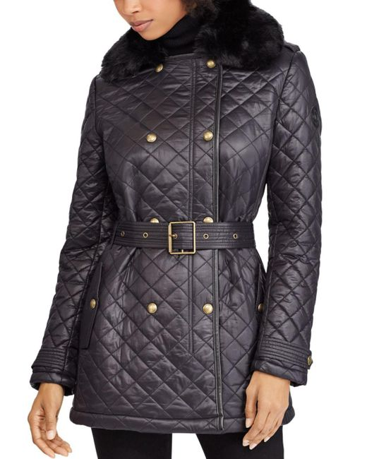 Ralph Lauren - Black Lauren Faux Fur Trim Diamond-quilted Jacket - Lyst