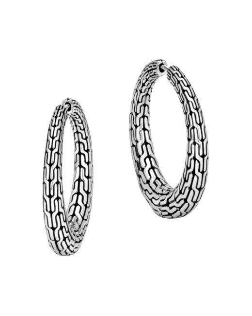 John Hardy - Metallic Sterling Silver Classic Chain Graduated Hoop Earrings - Lyst