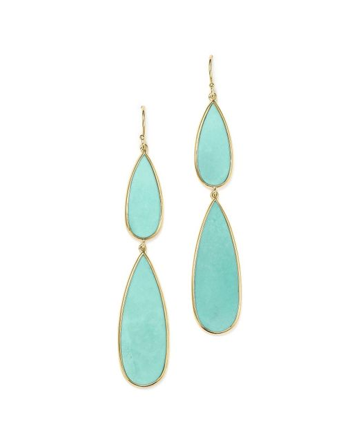 Ippolita   Blue 18k Yellow Gold Rock Candy® Double Teardrop Earrings With Turquoise   Lyst