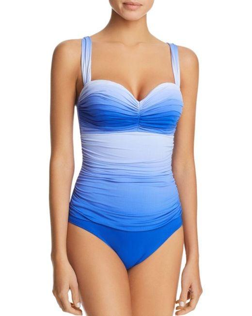 Bleu Rod Beattie - Blue Ruched Bandeau One Piece Swimsuit - Lyst