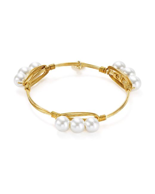 Bourbon and Boweties | Metallic Cultured Freshwater Pearl Bangle | Lyst