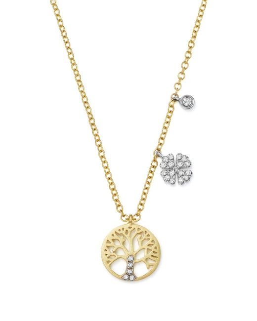 Meira T Metallic 14k White And Yellow Gold Diamond Tree Of Life Pendant Necklace