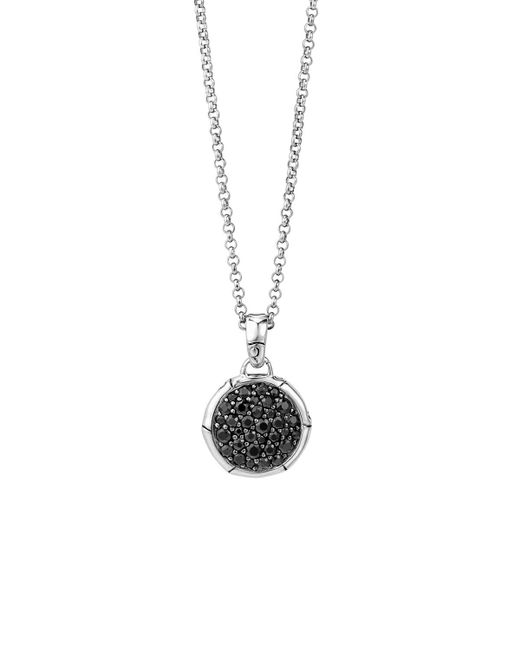 John Hardy | Metallic Bamboo Silver Small Round Pendant With Black Sapphire On Chain Necklace, 18"