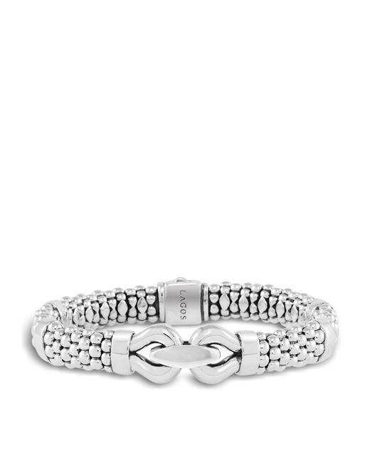 Lagos | Metallic Derby Large Buckle Sterling Silver Caviar Bracelet | Lyst