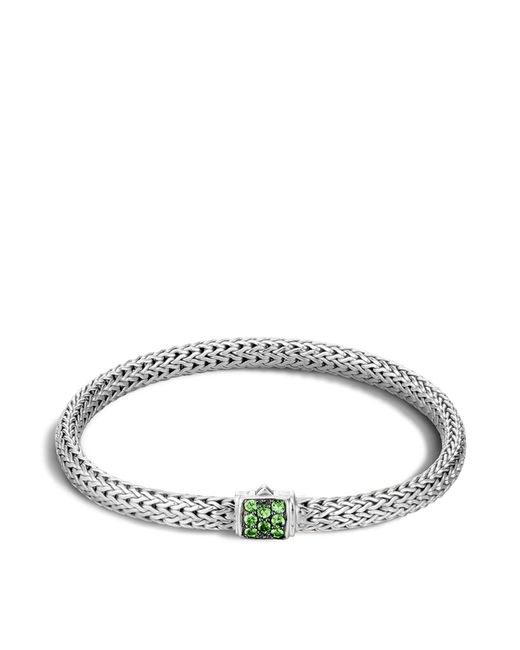 John Hardy | Green Classic Chain Sterling Silver Lava Extra Small Bracelet With Tsavorite | Lyst