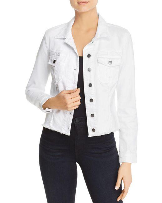 Kut From The Kloth - White Kara Frayed-hem Denim Jacket - Lyst