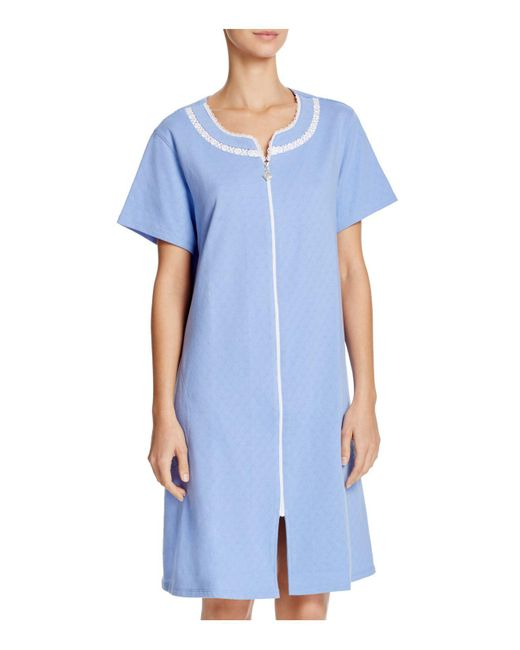 Eileen West | Blue Short Zip Robe | Lyst