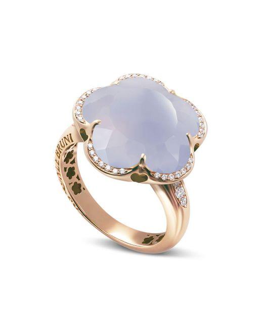 Pasquale Bruni - Multicolor 18k Rose Gold Bon Ton Light Blue Chalcedony & Diamond Floral Ring - Lyst