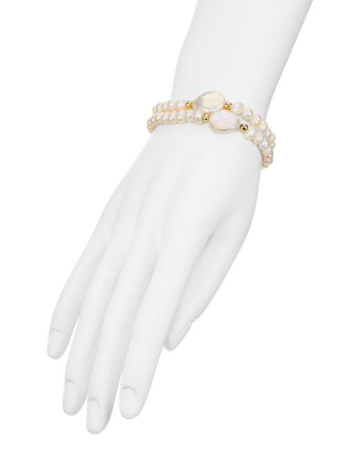 Aqua White Simulated Pearl Stretch Bracelets
