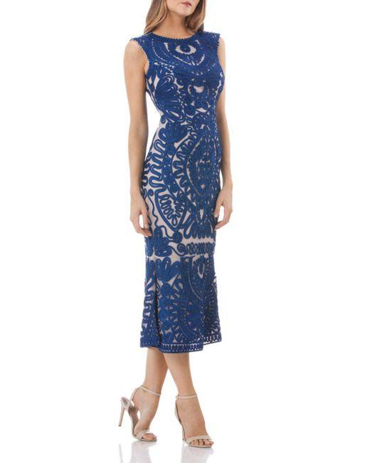 JS Collections - Blue Soutache Midi Dress - Lyst