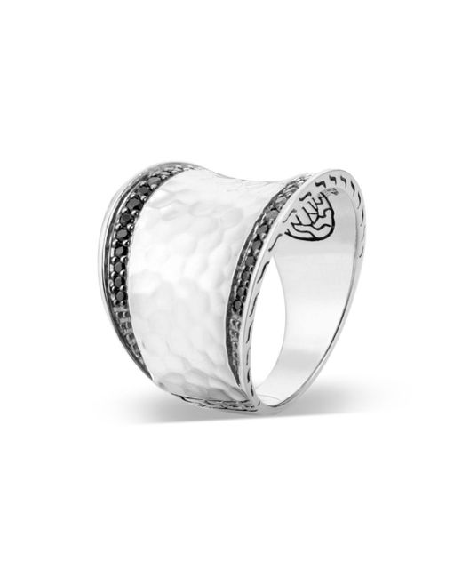 John Hardy Hammered Sterling Silver Classic Chain Black Spinel & Black Sapphire Small Saddle Ring