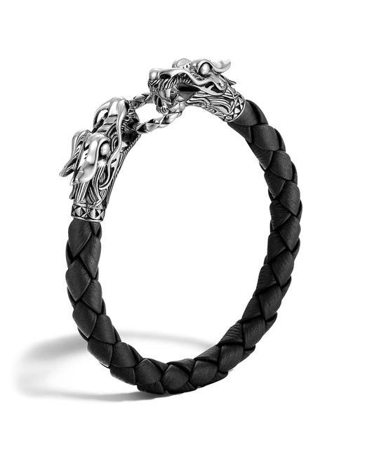 John Hardy   Men's Naga Silver Black Woven Leather Dragon Bracelet   Lyst