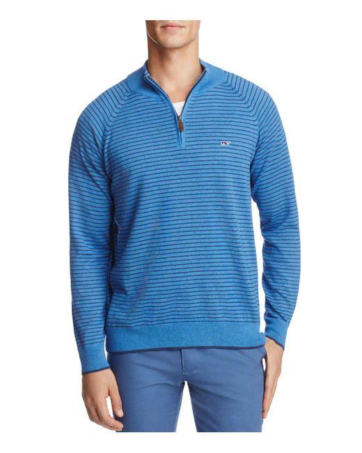 Vineyard Vines | Blue Classic Stripe Quarter-zip Sweater for Men | Lyst