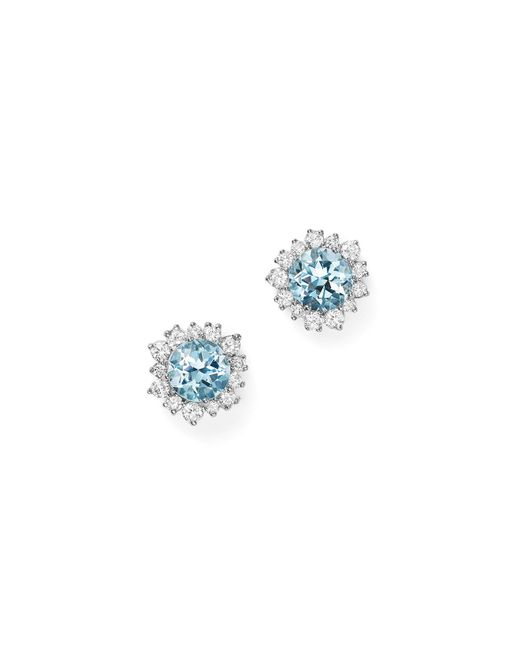 Bloomingdale's - Aquamarine And Diamond Halo Stud Earrings In 14k White Gold - Lyst