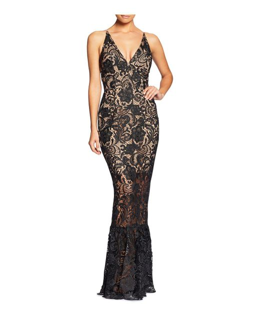 Dress the Population - Black Sophia Lace Mermaid Gown - Lyst